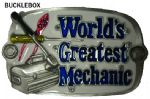 World's Greatest Mechanic belt buckle + display stand. Code AK4